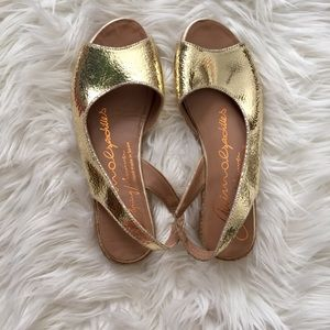 NEW Gaimo Peeptoe Espadrilles in Gold Leather